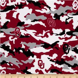 Collegiate Cotton Broadcloth The University of Oklahoma Camouflage Red