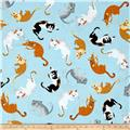Kaufman Whiskers & Tails Cat Toss Blue