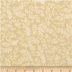 "108"" Wide Tonal Leaf Quilt Back Beige"