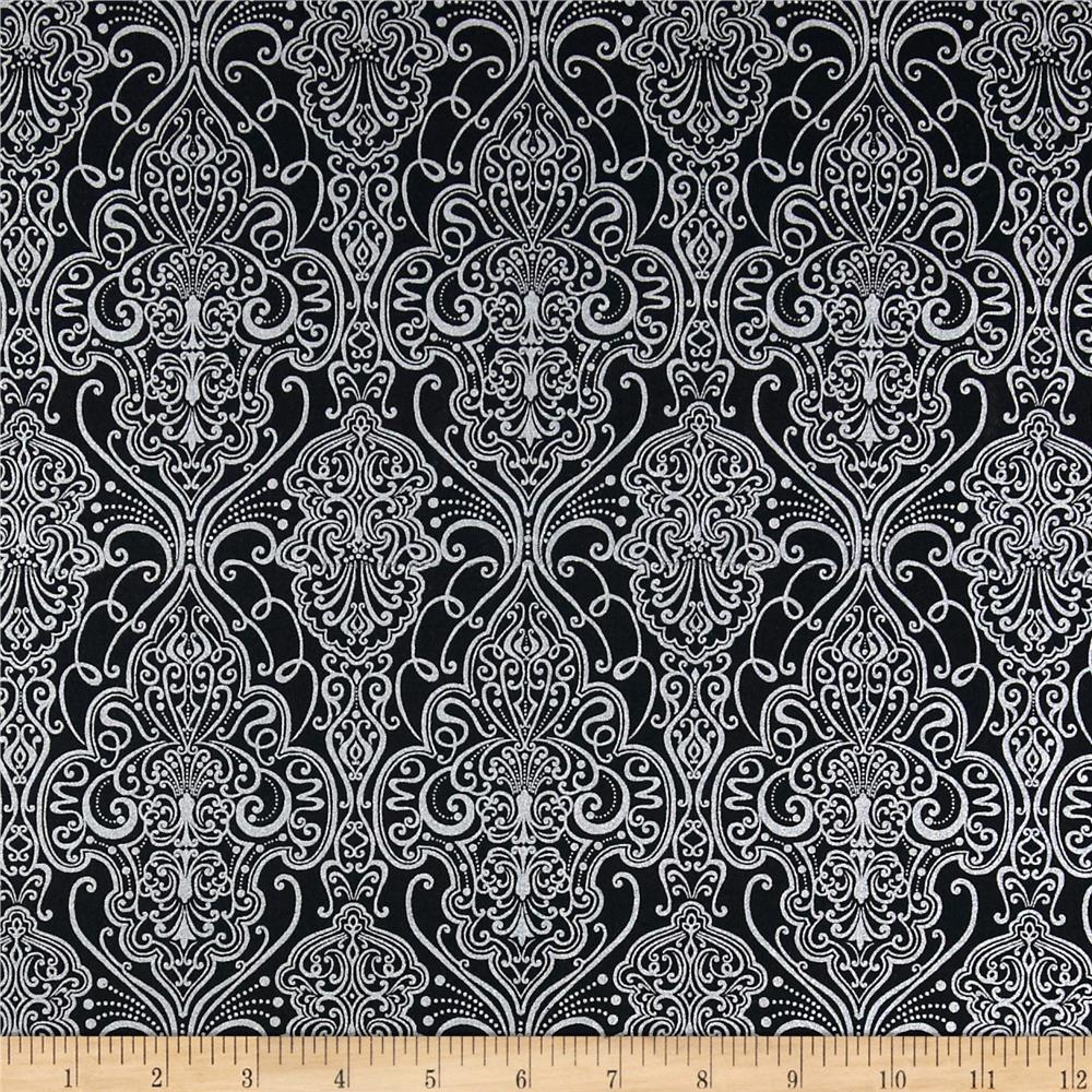 Pearle Silver Opalescent Damask Black