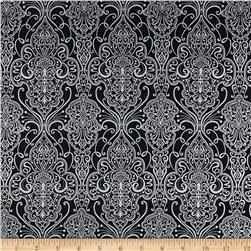 Pearle Silver Opalescent Damask Black Fabric
