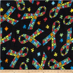 Winterfleece Jigsaw Ribbons Multi Fabric