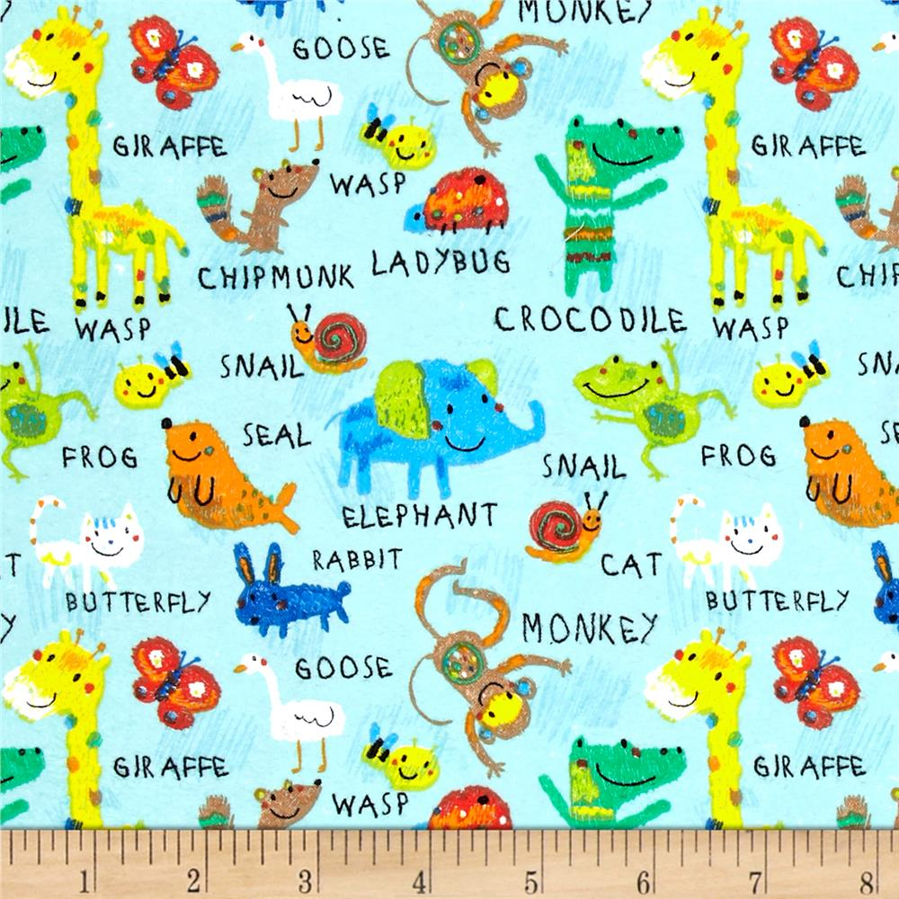 Comfy Flannel Animals Light Turquoise Fabric