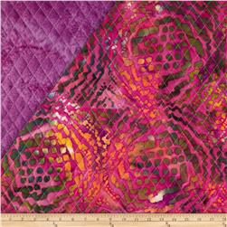 Indian Batik Double Sided Quilted Large Tribal Circles Fuchsia/Purple