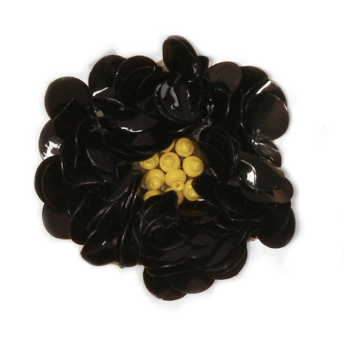 Small Flower Sequin Applique Black
