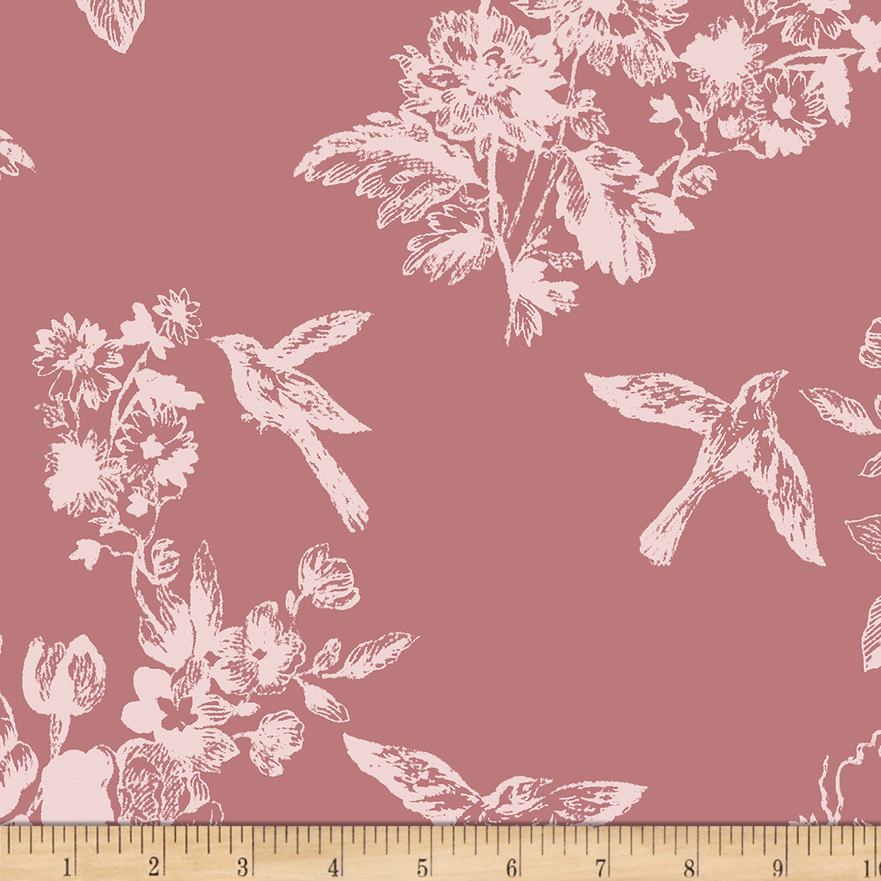 Image of Bolt by Girl Charlee Homestead Life Jersey Knit Bluebird Garden Rose Fabric
