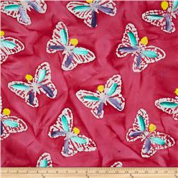 Indian Batik Hand Painted Butterfly Pink