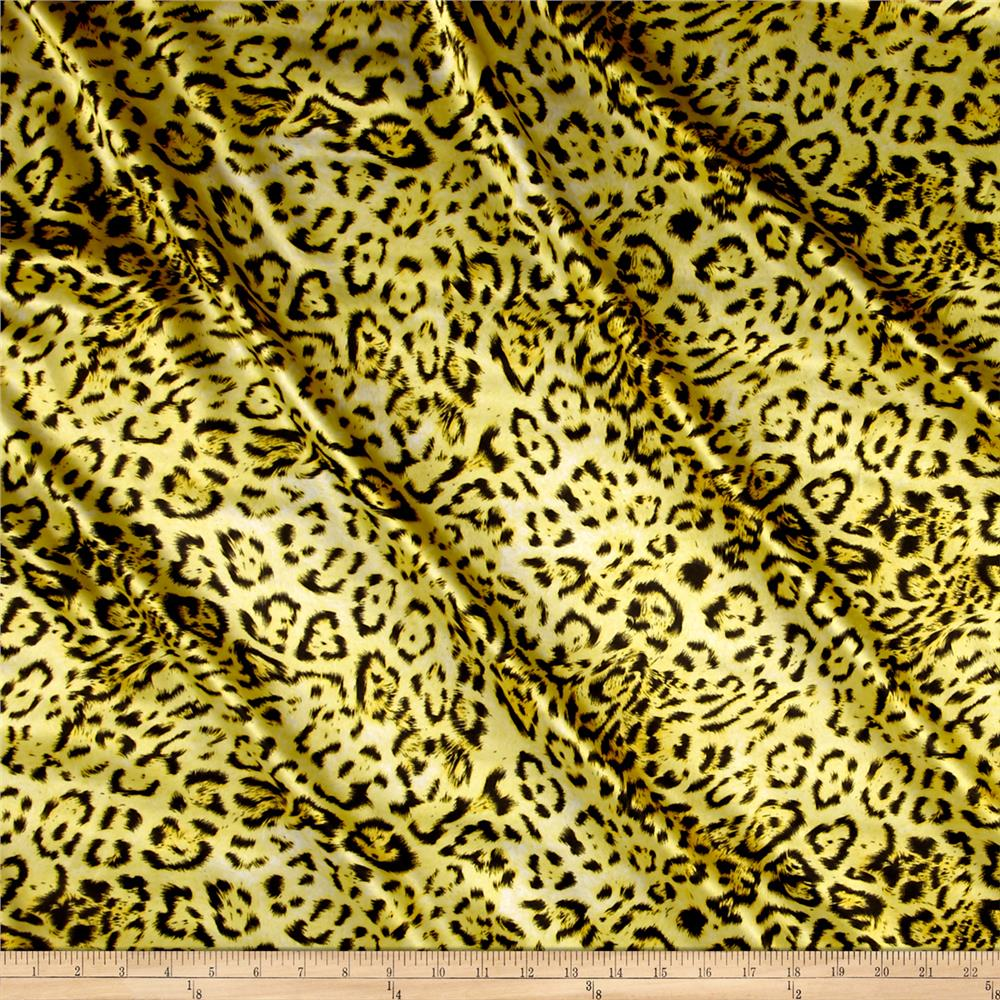 Stretch Charmeuse Satin Print Lynx Yellow Fabric By The Yard