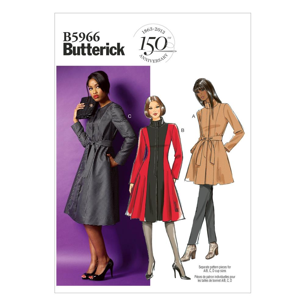 Butterick Misses' /Women's Jacket, Coat and Belt Pattern B5966 Size B50
