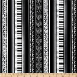 Concerto Grand Piano Stripe Black Fabric