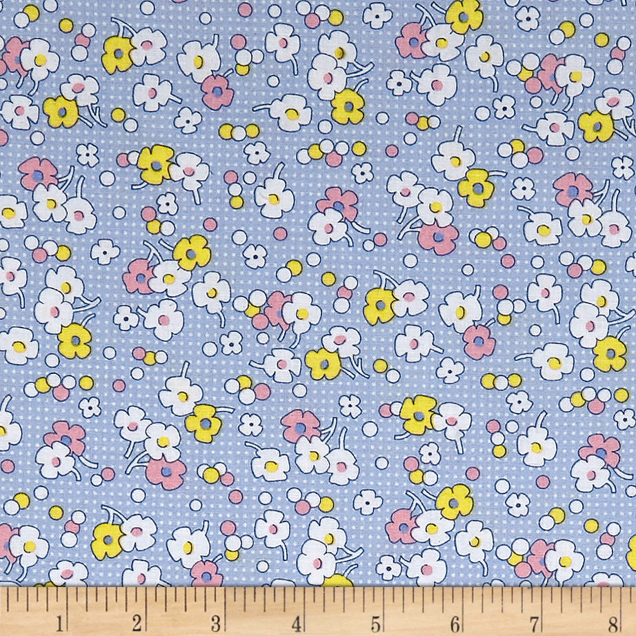 1930s Fashion Colors, Clothing & Fabric Nana Mae II 1930s Reproduction Floral Dot Blue Fabric $8.43 AT vintagedancer.com