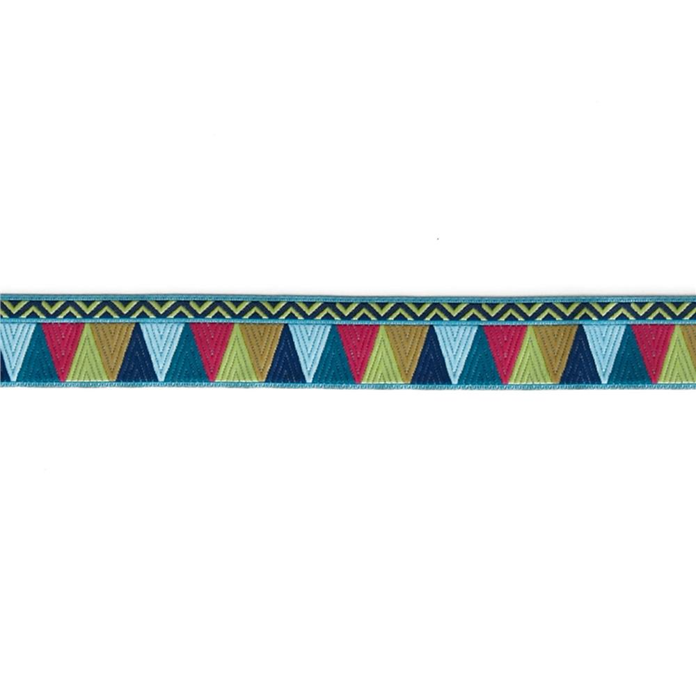 "7/8"" Amy Butler Blue/Pink/Gold Belle Mosaic Ribbon"
