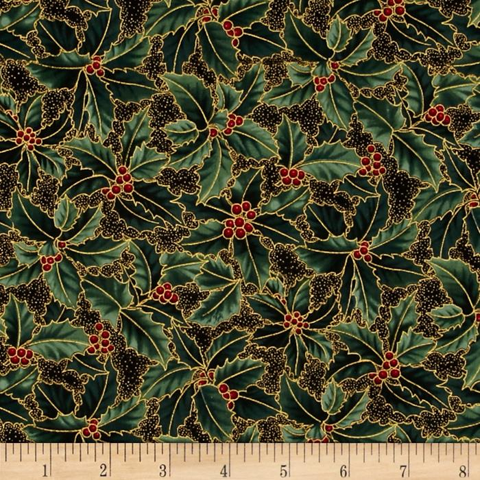 Berries and Blooms Metallic Holly Black/Gold