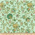 Village Garden Bird Floral Teal