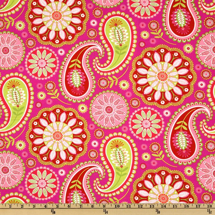 Michael Miller Gypsy Bandana Gypsy Paisley Pink/Lime Fabric By The Yard
