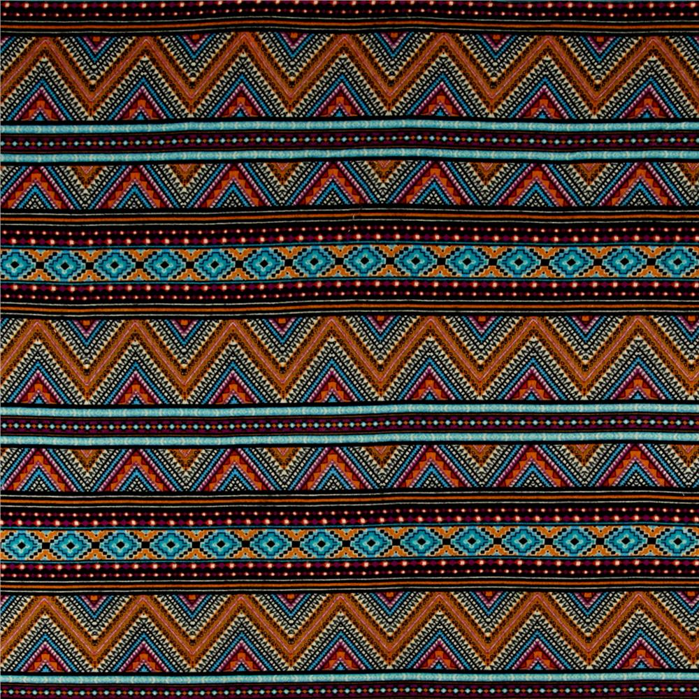 Aztec Hatchi Sweater Knit Aqua/Orange/Black