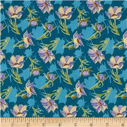 Grace Floral Teal Fabric