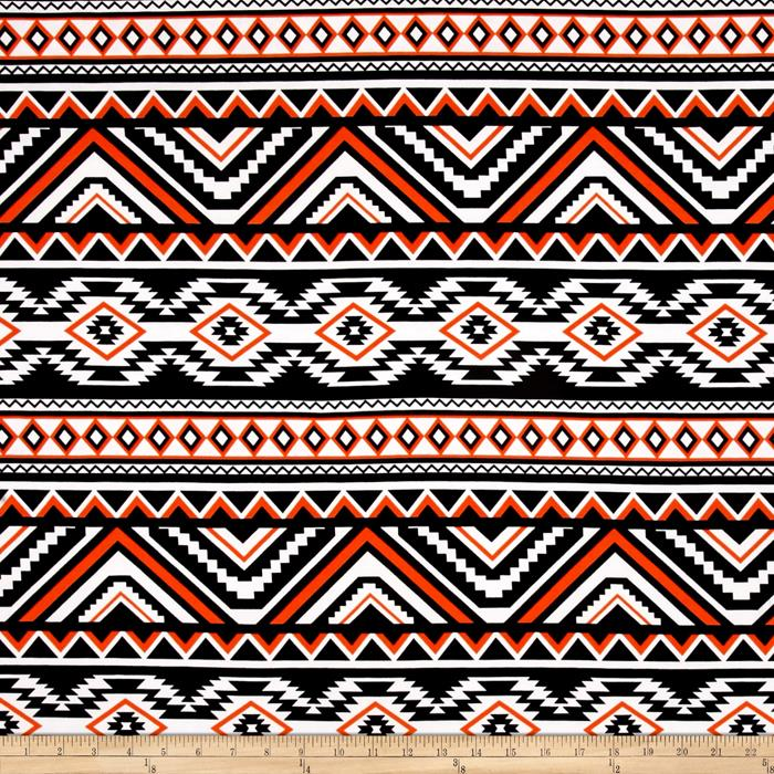 Stretch ITY Jersey Knit Aztec Orange Black