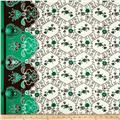 Cotton Lawn Flourish Border White/Green