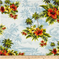 Hoffman Tropicals Hibiscus & Palm Tree Denim Fabric