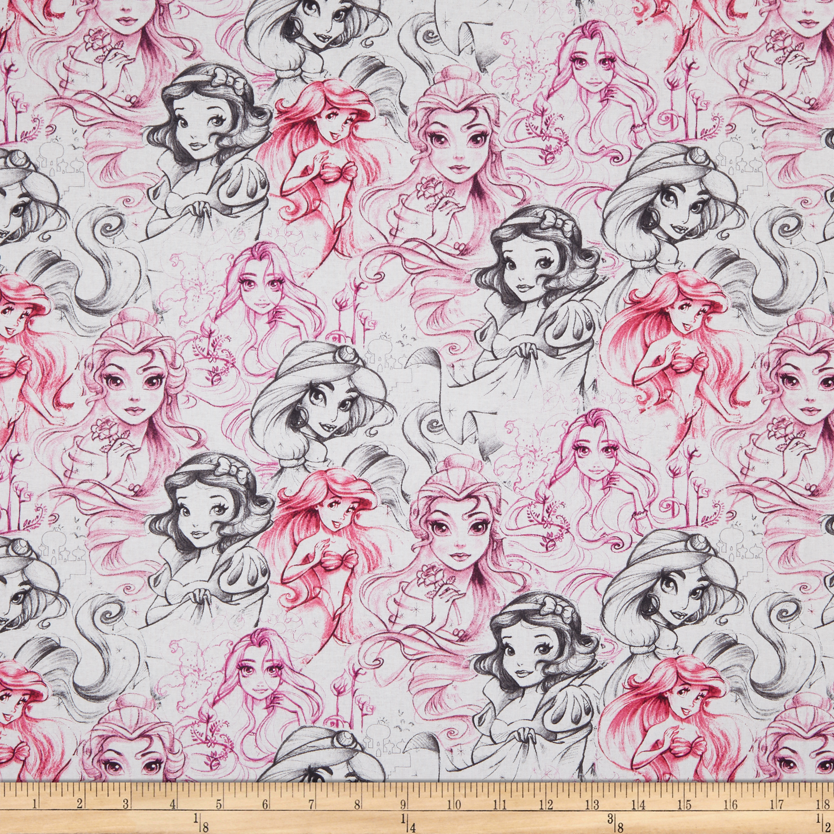 Disney Princess Enchanting Stores Princess Sketch Hot Pink Fabric