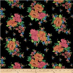 Soft Jersey Knit Floral Black/Orange/Green/Pink