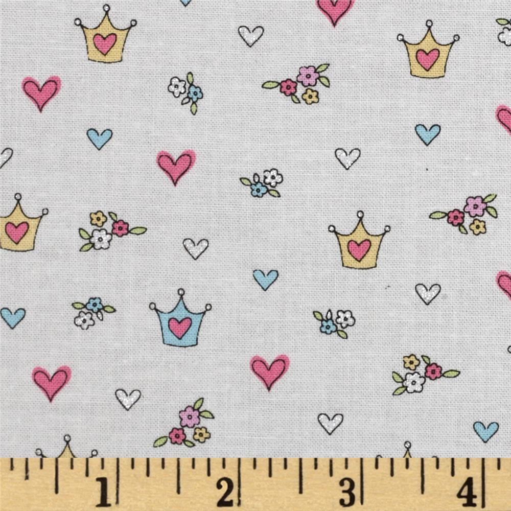 Timeless Treasures Glitter Crowns & Hearts White