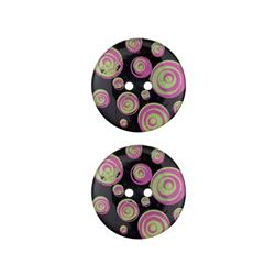 Dill Novelty Button 1'' Swirl Black