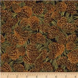 Timeless Treasures Gather Together Metallic Harvest Pine Cones Black