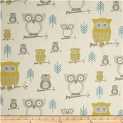 Premier Prints Sheeting Hooty Summerland/Natural Fabric