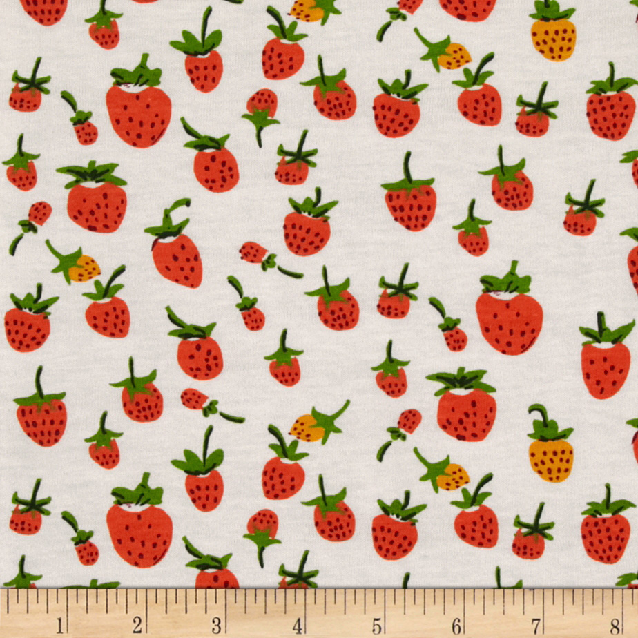 Heather Ross Briar Rose Cotton Jersey Knit Strawberry