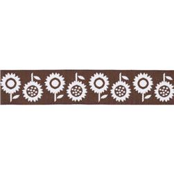 7/8'' Ribbon Sunflowers Brown