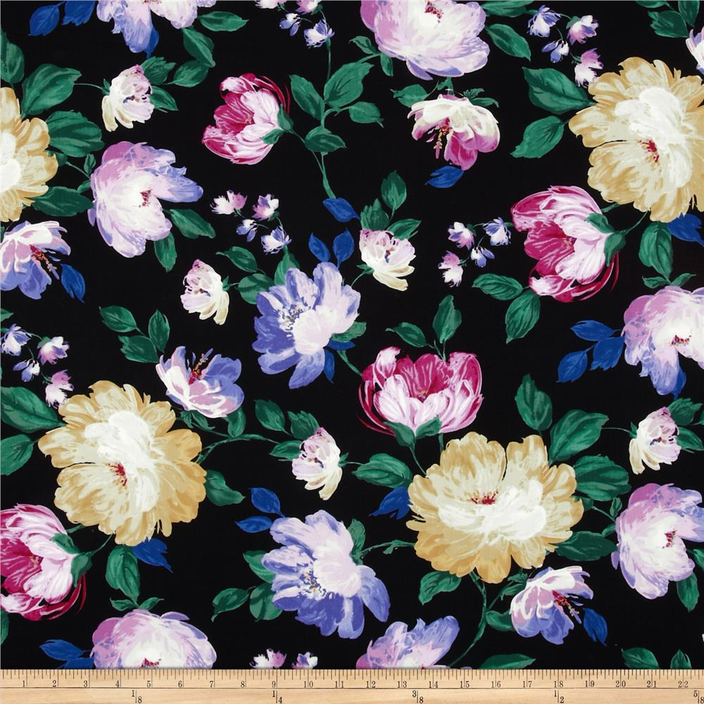 Timeless Treasures Romance Painted Floral Black