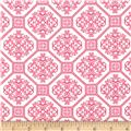 Lauguna Stretch Cotton Jersey Knit Tile Hot Pink/White