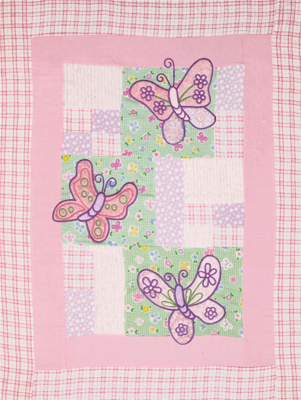 Butterfly Pre-Quilted Panel Pink/Lime