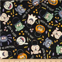 A Haunting We Will Go Halloween Motifs Black