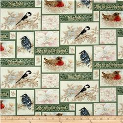 Garden Melodies Songbird Patchwork Green