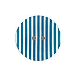 Dill Novelty Button 1-3/8'' Turquoise Stripe on White