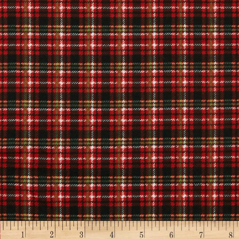Timeless Treasures Holiday Flannel Tailor Made Plaid Red