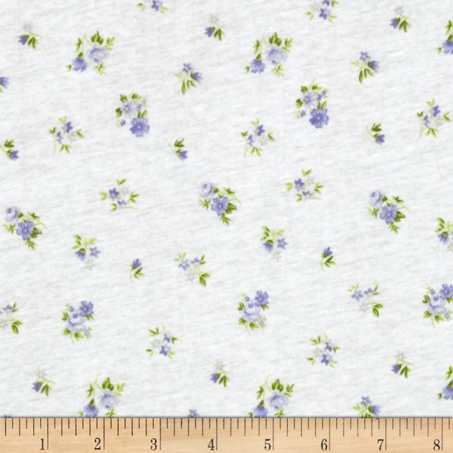 Stretch Rayon Jersey Knit Small Floral White/Lilac