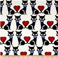 Telio Bloom Stretch Cotton Sateen Cat Print White/Black