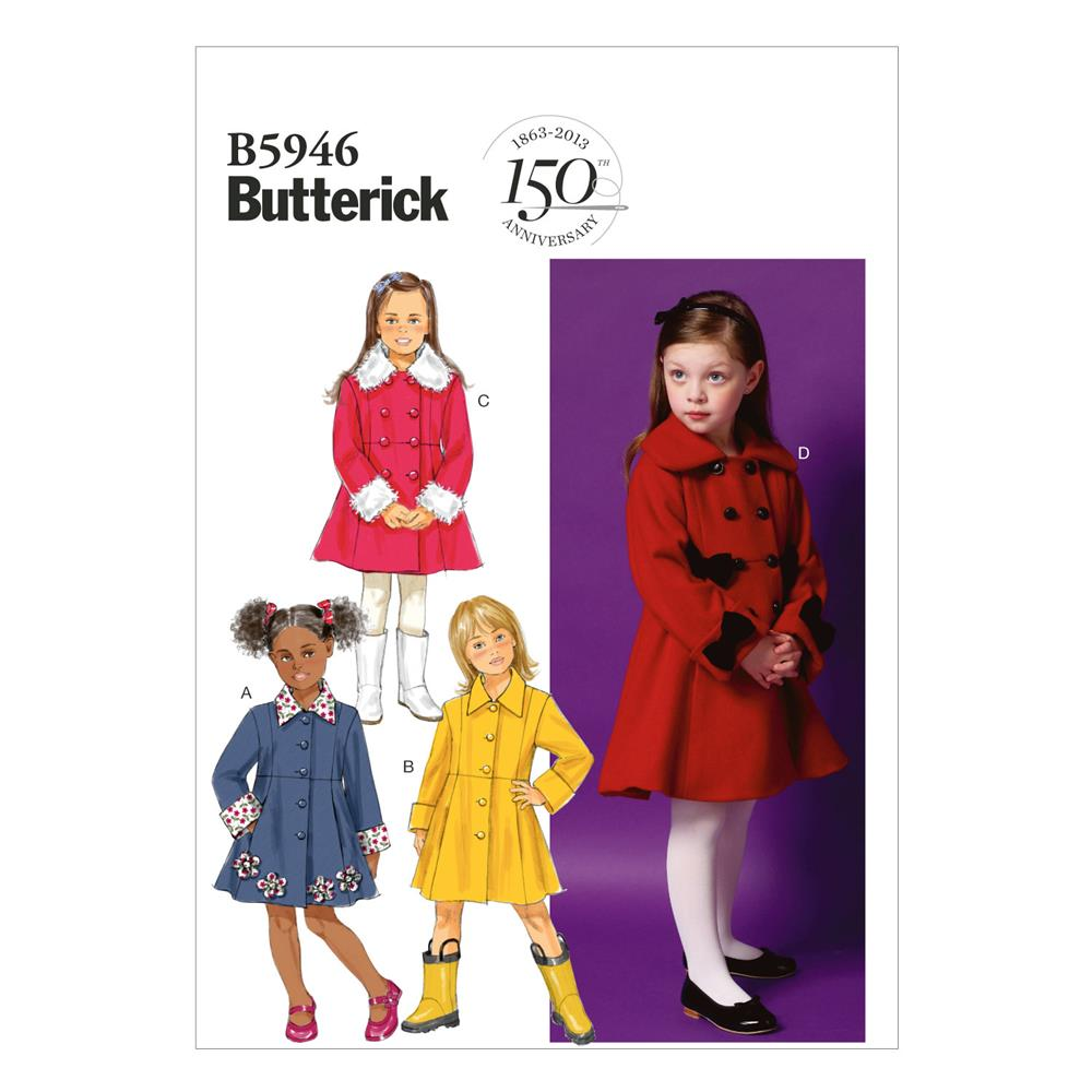 Butterick Children's/Girls' Coat Pattern B5946 Size CDD