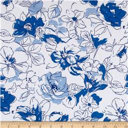 Cotton Lycra Jersey knit Floral Sketch Blue/White
