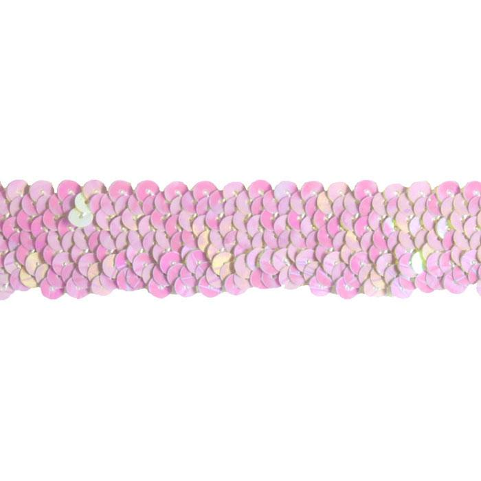 "1 1/4"" Stretch Metallic Sequin Trim White Aurora"