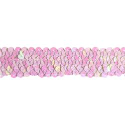 1 1/4'' Stretch Metallic Sequin Trim White Aurora