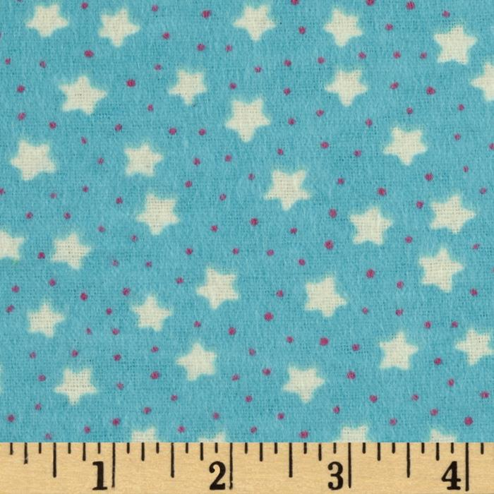 Perched Night Owlies Flannel Stars Turquoise