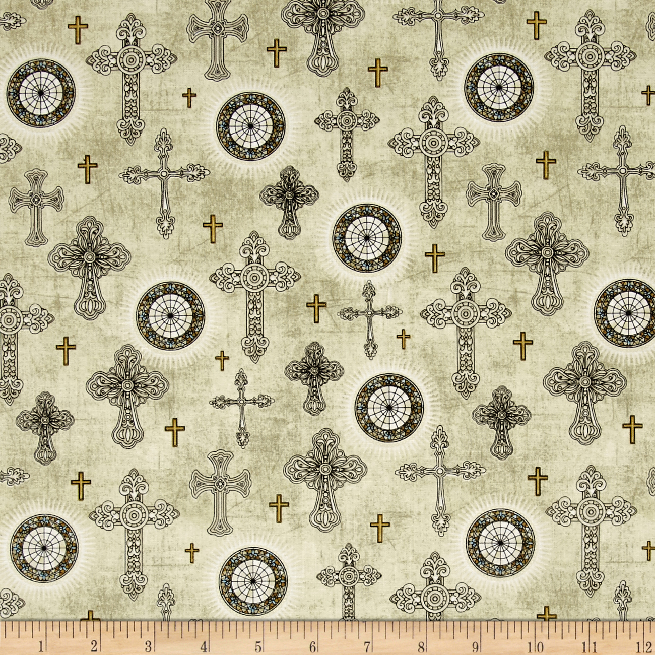 Heavenly Crosses Natural Fabric by Quilting Treasures in USA