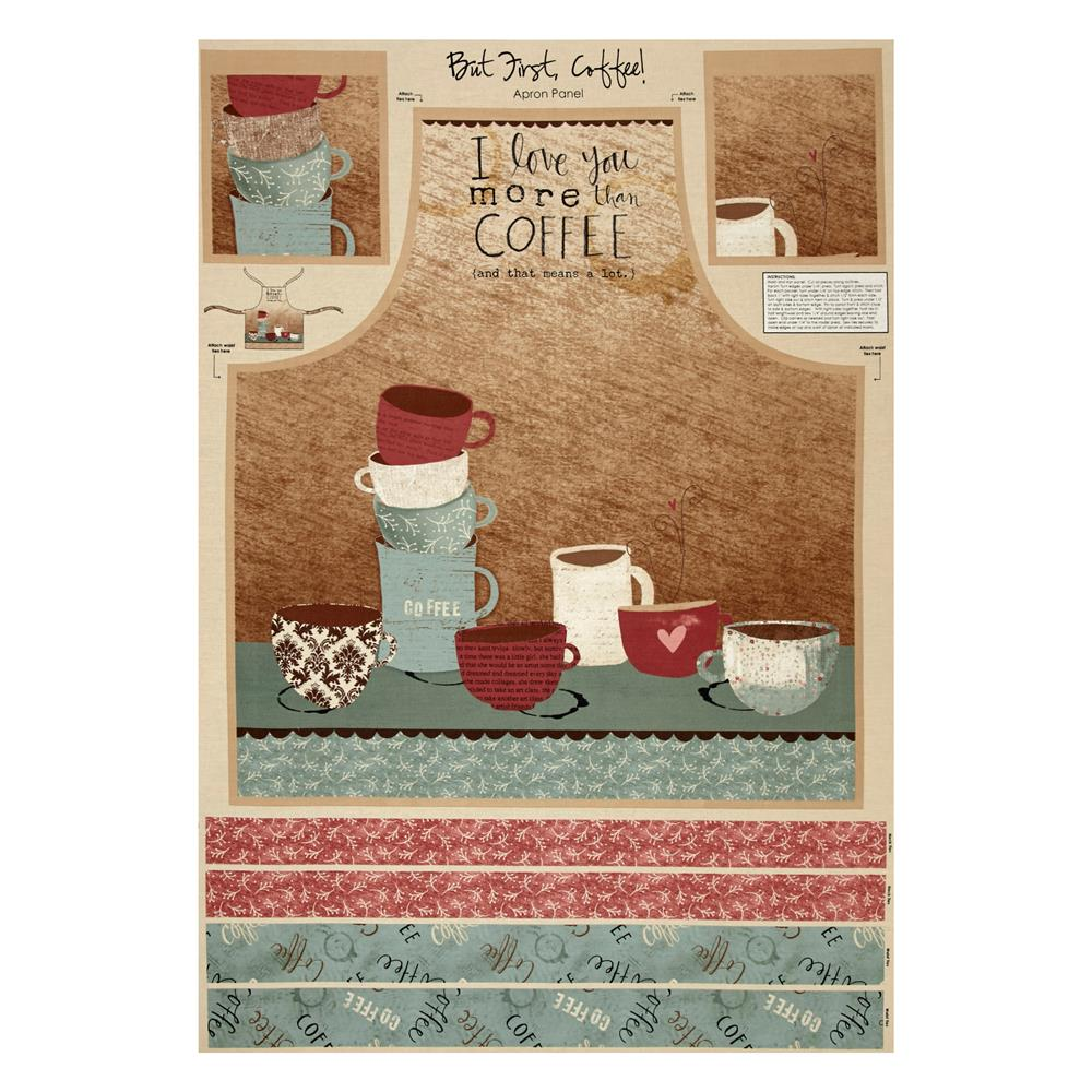 """But First, Coffee! Apron 29.5"""" Panel Multi"""