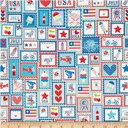 Riley Blake Star Spangled Patchwork Stripe Aqua