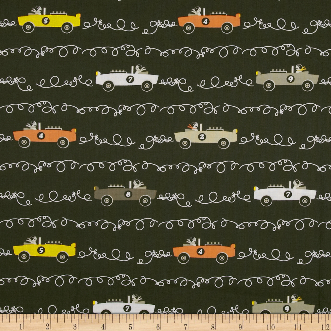 Michael Miller Aviator Scribble Cars Taupe Fabric